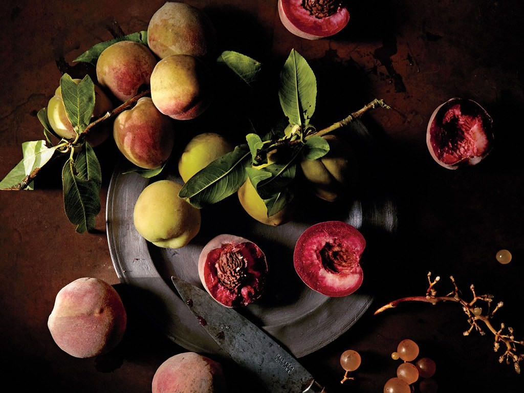 While Gascony is famous for its foie gras, vegetarians won't go hungry—the moist, cool air around the Garonne River is perfect for growing vegetables and fruit, such as these wild peaches and grapes from the weekly market in Lavardac.